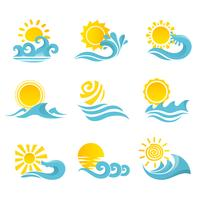 Olas sol conjunto de iconos