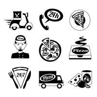 Conjunto de iconos de pizza blanco y negro