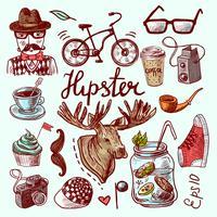 Jogo, de, hipster, ícones