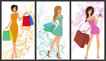 Banner de garota de compras