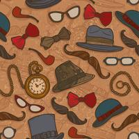Vintage hats and glasses color seamless pattern