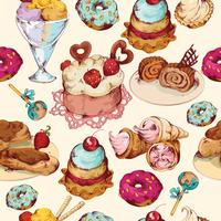 Sweets sketch colored seamless pattern