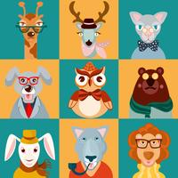 Iconos de animales hipsters planos.