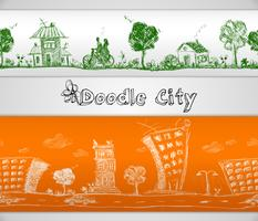 City doodle seamless border