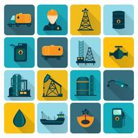Iconos planos de la industria del petróleo