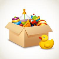 Speelgoed in doos