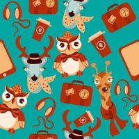 Animal hipsters seamless background