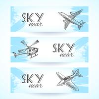 Flygplan ikoner banners skiss