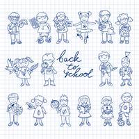 Conjunto de cartón doodle niños