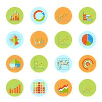 Business chart icons flat