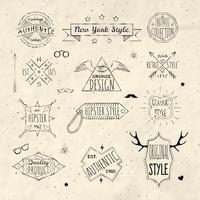 Conjunto de emblema retrô hippie