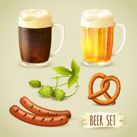 Conjunto de cerveja e petiscos