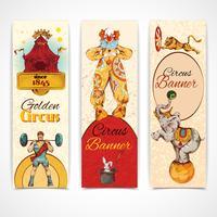 Conjunto de banners de circo vintage