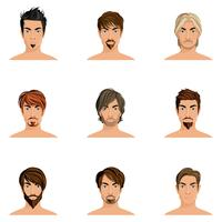Conjunto de estilo de cabelo de homem