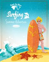 Surfing summer adventure poster