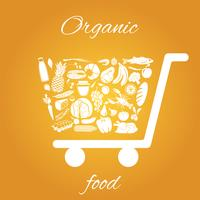 Organic food cart vector