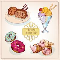 Conjunto de colores boceto de dulces