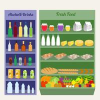 Supermarket shelves flat