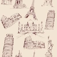 World landmark seamless pattern