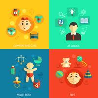 Concepto de niños iconos planos