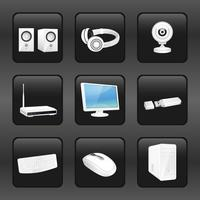 Computer and accessories icons vector