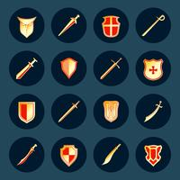 Sword and shield icons set