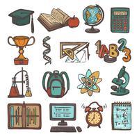 Icone di schizzo di educazione scolastica