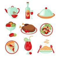 Icone di cibo del ristorante