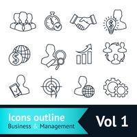 Contorno de ícones de negócios e gestão