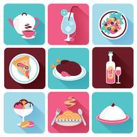 Iconos de comida de restaurante plana