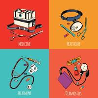 Conjunto de colores de iconos de dibujo de medicina