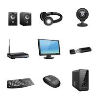 Iconos de accesorios de computadora negros