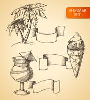 Summer sketch set vector