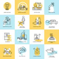 Pollution icon set vector