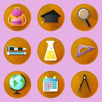 Wooden education icons