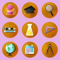 Trä utbildning ikoner