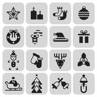 Christmas icons set black