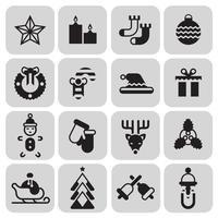 Conjunto de ícones de Natal preto