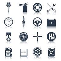 Iconos de piezas de coche negro