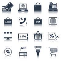 Iconos de comercio electrónico establecidos en negro