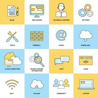 Iconos de línea plana web