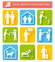 Volunteer icons set flat