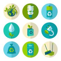 Flache Ikonen der Ökologie und des Abfalls eingestellt