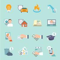 Betal faktura ikoner platt uppsättning