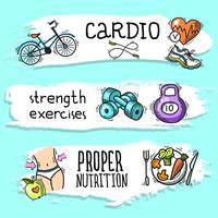 Fitness sketch banner set vector