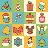 Christmas icons set flat line vector