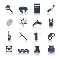 Police icons set black