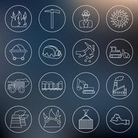 Coal industry icons outline