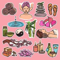 Color de iconos de bosquejo de spa
