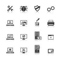 Set di icone di riparazione computer